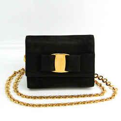 Salvatore Ferragamo Vara AQ213202 Women's Suede Shoulder Bag Black BF521697