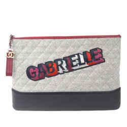 Gray Chanel Gabrielle Wool Clutch Bag