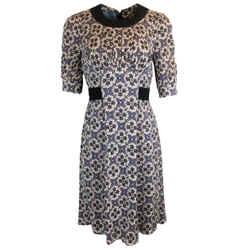 Prada Purple & Blue Printed Viscose Stretch Crepe Dress