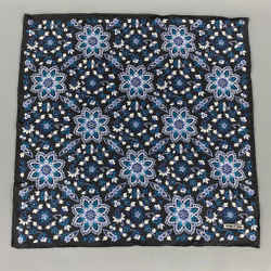 TOM FORD Black & Teal Floral Silk Pocket Square