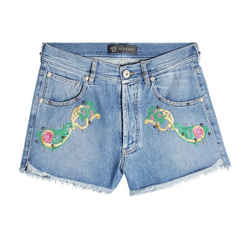 Versace Denim Embroidered Shorts