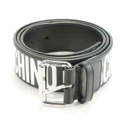 Moschino Logo Print Leather Belt