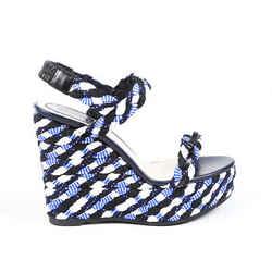 Christian Dior Sandals Blue Woven Braided Platform Wedge SZ 40