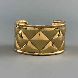 Chanel Vintage 1970s Gold Tone Metal Quilted Cuff Bracelet