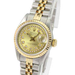 Rolex Women's Datejust Gold And Steel Silver Flower String Diamond 26mm-quickset
