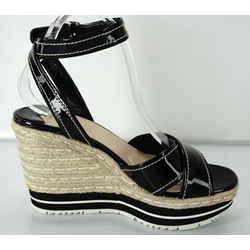 Prada Patent Ankle Strap Platform Espadrille Wedge Sandals Sz 40 10 Nib $850