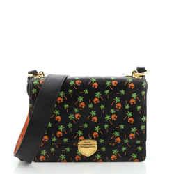 Pushlock Flap Shoulder Bag Printed Saffiano Medium