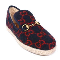 Gucci - New - Wool Fria Horsebit Esapdrilles - Black Red GG Loafer - US 7 - 37