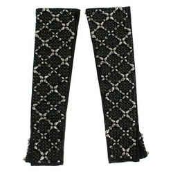 Dolce & Gabbana Black Leather Crystal Beaded Finger Free Women's Gloves