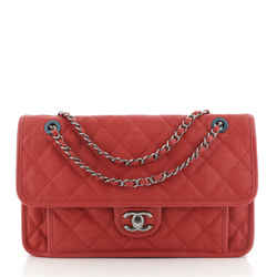 French Riviera Flap Bag Quilted Caviar Large