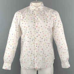 Jil Sander Size L White Print Cotton Button Up Long Sleeve Shirt