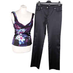 Versace Blue Silk Top and Satin Pants Trousers Set Size 40-42