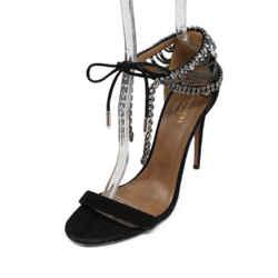 Aquazzura Black Suede Rhinestone Shoes Sz 39