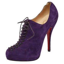 Christian Louboutin Purple Suede Lace Up Platform Booties Size 38.5