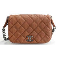 Chanel Aged Calfskin Flap Bag - Camel Brown