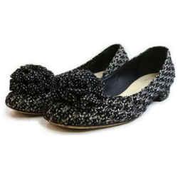 Chanel Size 39 Black Tweed Camellia CC Ballerina Flats 862951