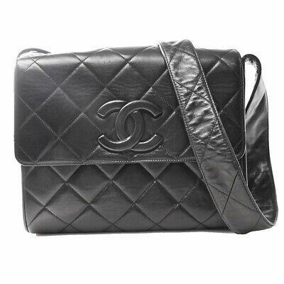 Auth Chanel Matrasse Coco Mark Women's Leather Shoulder Bag Black