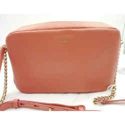 Jimmy Choo Athini Medium Powder Pink Leather Tassel Chain Camera Bag OMEC   028