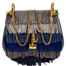 Chloe Fringe Drew Suede Leather Shoulder Bag Grey