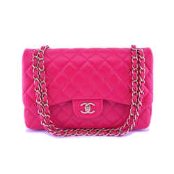 Chanel Fuchsia Pink Lambskin Jumbo Classic Double Flap Bag GHW