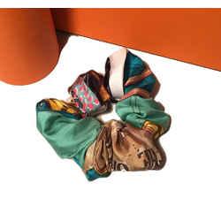 Vintage Hermes Handmade New Orleans Creole Jazz Silk Scarf Scrunchie in Teal