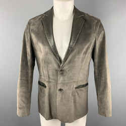 John Varvatos Size 36 Slate Suede Notch Lapel Leather Trim Double Buttoned Jacket