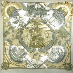 Hermes Au-dela Des Cinq Mers Scarf By Toutsy 90 Cm Silk Twill
