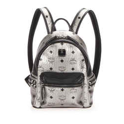Vintage Authentic MCM Silver  with Black Calf Leather Visetos Backpack Korea