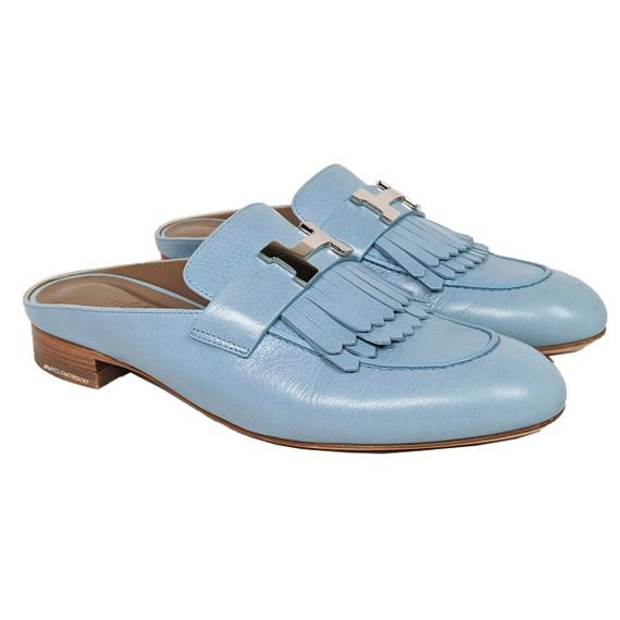 Hermes Rivoli Fringe Bleu Dorset Mule