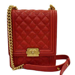 North South Boy Quilted Caviar Leather Crossbody Bag Red