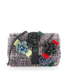 Camellia Flap Shoulder Bag Tweed Medium