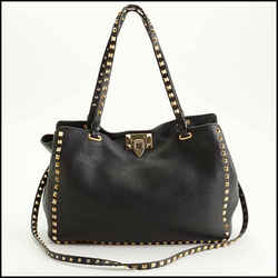 Rdc11331 Authentic Valentino Black Leather Medium Trapeze Rockstud Tote
