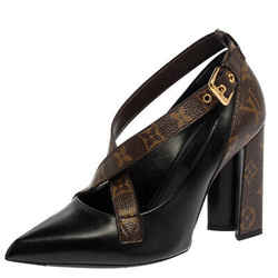 Louis Vuitton Black/ Monogram Coated Canvas And Leather Matchmake Cross Pumps