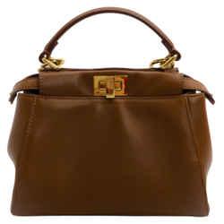 Fendi Mini Peekaboo Light Brown Leather Top Handle Bag