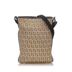 Vintage Authentic Fendi Brown Beige Canvas Fabric Zucchino Crossbody Bag Italy