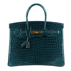 Hermes Birkin 35 Bag Blue Colvert Porosus Crocodile Gold Hardware
