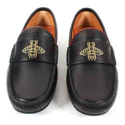 Gucci New Bee Drivers Black Loafers Gold Red Green Stripe Detail US 6.5 - IT 5.5