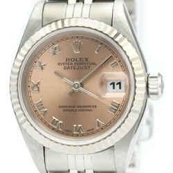 Polished ROLEX Datejust 69174 U Serial 18K White Gold Steel Watch BF516328