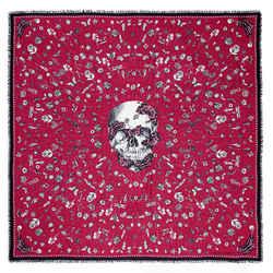 NEW $420 ALEXANDER MCQUEEN Pink HEIRLOOM PINS SKULL Modal Wool Shawl SCARF NWT