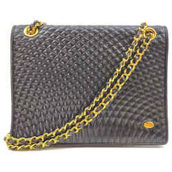 Bally Quilted Black Leather Chain Flap bag  862400