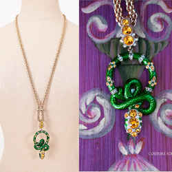NEW $850 ROBERTO CAVALLI Green Enamel & Yellow Crystal Coiled SNAKE NECKLACE