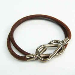 Hermes Atame Choker Leather,Metal Bangle Brown,Silver BF529518