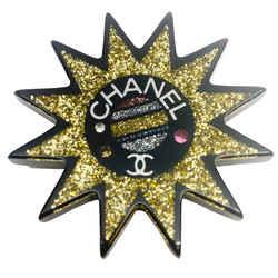Chanel Black and Gold Glitter Resin Sun Logo Brooch