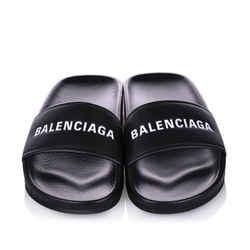 Vintage Authentic Balenciaga Black PVC Plastic Piscine Flat Sandal Italy
