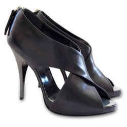 NEW GIUSEPPE ZANOTTI Peep Toe Crisscross Strap Platform Pumps - Black - Size 36