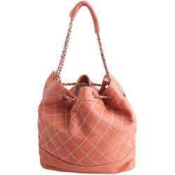 Chanel Drawstring Bucket Surpique Orange Leather Shoulder Bag