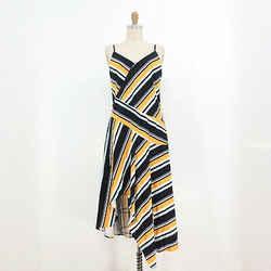 4 - Parker Black Striped Raya Midi Handkerchief Hem $298 NEW Dress 1223SN