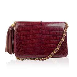Chanel Vintage Burgundy Crocodile Leather Tassel Shoulder Bag