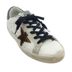 Golden Goose Deluxe Brand White Leopard Star Private Edition Sneakers