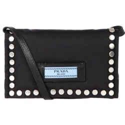 Prada Etiquette Black Studded Mini Tessuto Nylon Crossbody Bag 1BP006